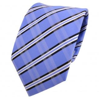 Designer Krawatte blau hellblau weiß gestreift - Schlips Binder Tie