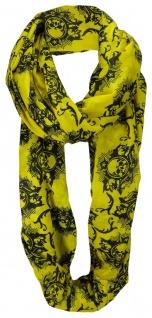 TigerTie Loop Schal in gelb schwarz mit Totenkopf Motiven - Größe 200 x 100 cm