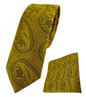schmale TigerTie Krawatte + Einstecktuch in gold schwarz Paisley gemustert