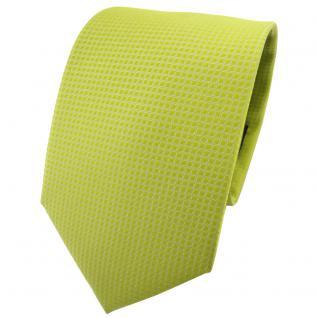 schöne TigerTie Krawatte in helles gelbgrün uni-gemustert - Schlips Binder Tie