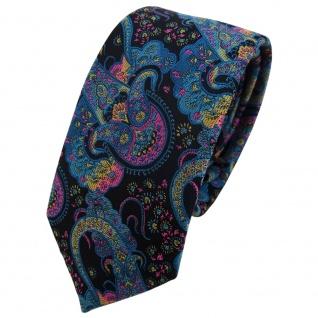 Schmale TigerTie Designer Krawatte türkis rosa gelb Paisley - Binder Tie