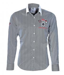 Pontto Designer Hemd Shirt in schwarz weiß gestreift langarm Modern-Fit Gr.S