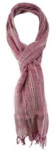 TigerTie Schal in lila magenta weiss gestreift mit Fransen - Größe 180 x 30 cm