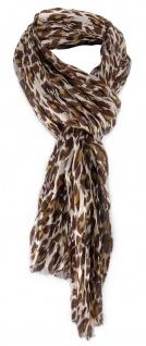 Schal in braun beige ocker Gepardenmuster Optik - Schalgröße 180 x 50 cm