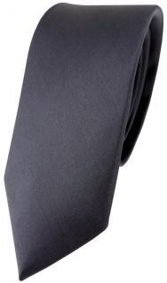 schmale TigerTie Satin Seidenkrawatte in anthrazit Uni - Krawatte 100% Seide
