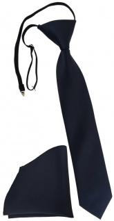 TigerTie Kinderkrawatte + Einstecktuch schwarzblau - vorgebunden mit Gummizug