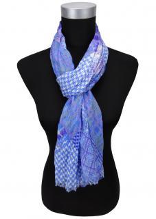 gecrashter Schal in blau lila weiß gemustert mit kl. Fransen - Gr. 180 x 50 cm