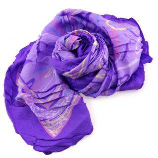 Damen Satin Halstuch flieder lila rosa gemustert Gr. 75 cm x 75 cm - Tuch Schal