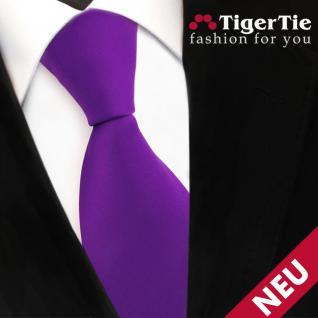 TigerTie Satin Krawatte lila violett Uni - Schlips Binder Tie