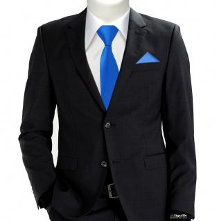 TigerTie Sicherheits Krawatte + Einstecktuch blau himmelblau einfarbig Uni Rips - Vorschau 2