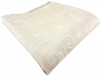 TigerTie Designer Seideneinstecktuch in beige creme silber paisley gemustert