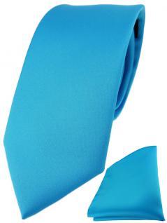 TigerTie Designer Krawatte + TigerTie Einstecktuch in türkisblau einfarbig uni