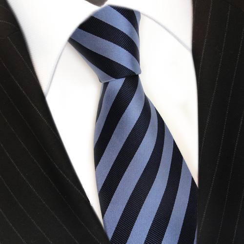 TigerTie Seidenkrawatte blau dunkelblau graublau gestreift - Krawatte Seide Silk - Vorschau 3