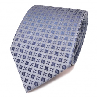 Schöne Designer Seidenkrawatte blau grau graublau gemustert - Krawatte Seide