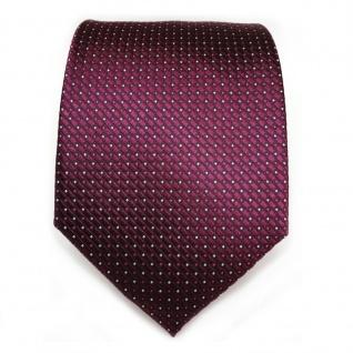 Designer Seidenkrawatte lila violett bordeauxviolett silber gepunktet - Krawatte