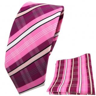 schmale TigerTie Krawatte + Einstecktuch lila rosa pink schwarz grau gestreift