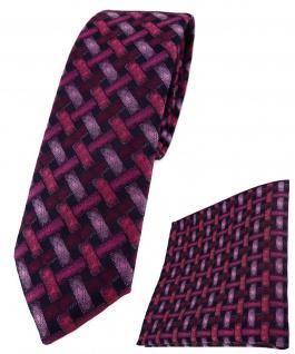 schmale TigerTie Krawatte + Einstecktuch rose rosa schwarz - Motiv Flechtmuster