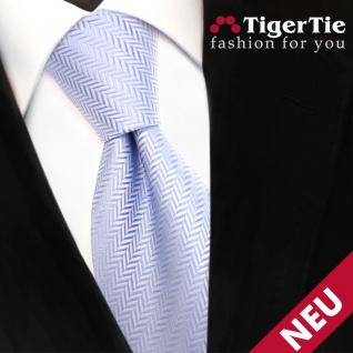 TigerTie Designer Krawatte hellblau blau silber gestreift - Schlips Binder Tie
