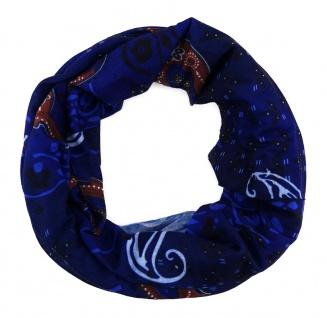 Multifunktionstuch blau braun weiss Paisley gemustert - Schal -Schlauchtuch
