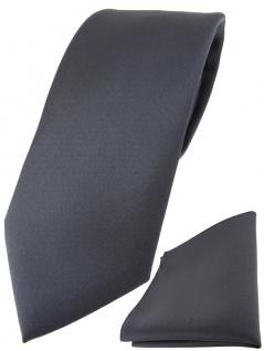 TigerTie Designer Krawatte + TigerTie Einstecktuch in anthrazit einfarbig uni