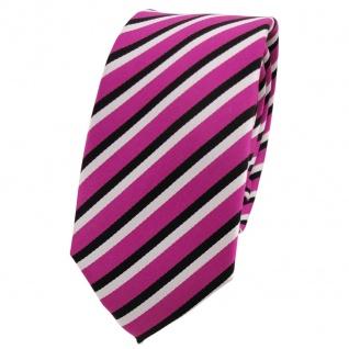 Schmale TigerTie Designer Krawatte pink schwarz weiß gestreift - Binder Tie