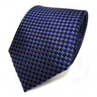 Designer Seidenkrawatte blau dunkelblau schwarz gemustert - Krawatte Seide