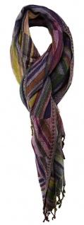 TigerTie Schal in grün gelb lila blau violett grau beige gemustert mit Fransen