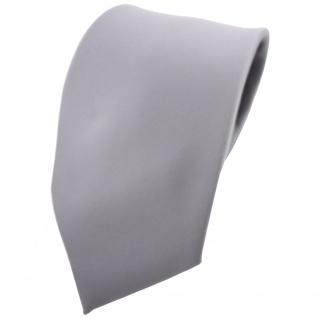 TigerTie Krawatte grau hellgrau silber einfarbig 100 % Polyester - Tie Binder
