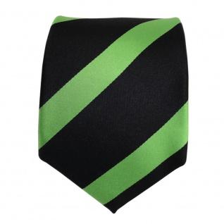 TigerTie Designer Seidenkrawatte grün maigrün schwarz gestreift - Krawatte Seide - Vorschau 3
