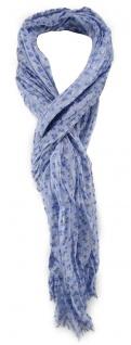 TigerTie Schal in blau hellblau weiß geblümt - Gr. 180 x 50 cm - 100% Baumwolle