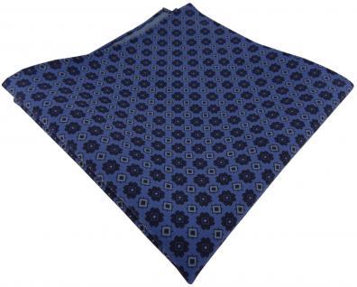 TigerTie handrolliertes Seideneinstecktuch blau dunkelblau Ornament gemustert