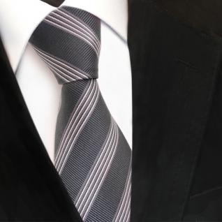 Designer Seidenkrawatte grau silber gestreift - Krawatte Seide Binder Tie