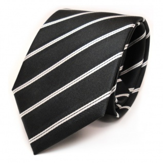 TigerTie Seidenkrawatte anthrazit schwarz weiß gestreift - Krawatte Seide Tie