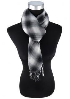 Schal in schwarz grauweiss kariert mit Fransen - 100 cm x 100 cm - Tuch Baumwolle