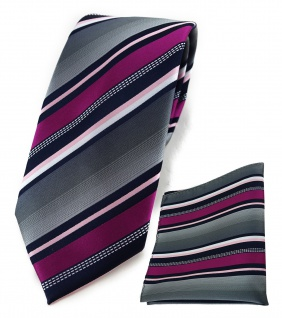 TigerTie Krawatte + Einstecktuch in magenta silber grau weiss schwarz gestreift - Vorschau 1