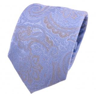 Designer Seidenkrawatte blau pastellblau grau Paisley gemustert - Krawatte Seide Silk