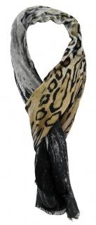 TigerTie Schal in beige grau schwarz Leopardenmuster - 170 x 50 cm