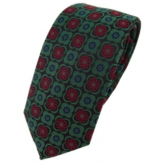 Schmale TigerTie Krawatte in grün weinrot schwarz marine gemustert - Schlips