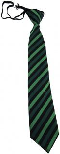 TigerTie Kinderkrawatte grün schwarz gestreift- Krawatte vorgebunden m. Gummizug