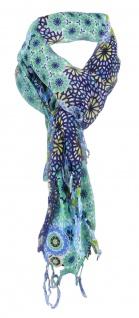 Damen Halstuch in blau türkis grau gelb dunkelblau gemustert Gr. 90 cm x 90 cm