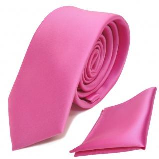 schmale TigerTie Schlips Krawatte + Einstecktuch in rosa pink uni Binder Tie