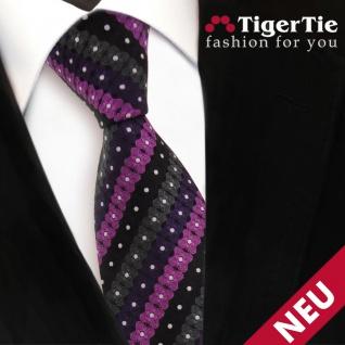 TigerTie Designer Krawatte lila schwarz anthrazit silber gestreift - Binder Tie - Vorschau 3