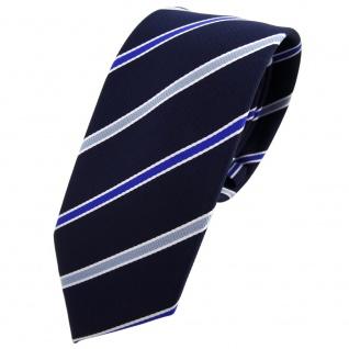 Schmale TigerTie Krawatte blau royal schwarzblau weiß gestreift - Binder Tie