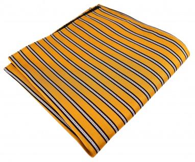TigerTie Seideneinstecktuch in gold gelb schwarz silber gestreift - 30 x 30 cm