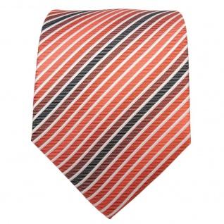 TigerTie Seidenkrawatte orange anthrazit weiß gestreift - Krawatte Seide - Vorschau 2
