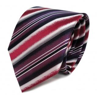 Designer Seidenkrawatte rot lila magenta silber royal gestreift - Krawatte Seide