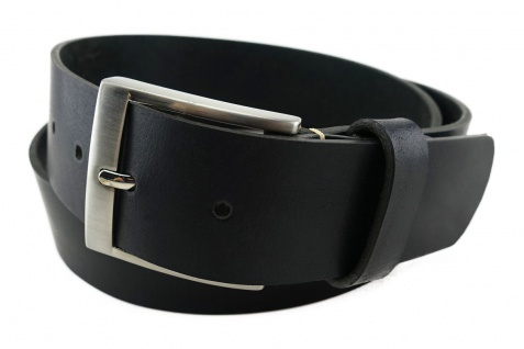 TigerTie - hochwertiger Ledergürtel schwarz - Bundweite 120 cm - 40 mm breit