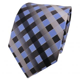 TigerTie Seidenkrawatte blau grau silber anthrazit kariert - Krawatte Seide Silk