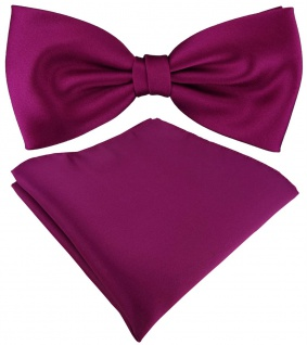 TigerTie Satin Fliege + TigerTie Einstecktuch in magenta Uni Einfarbig + Box