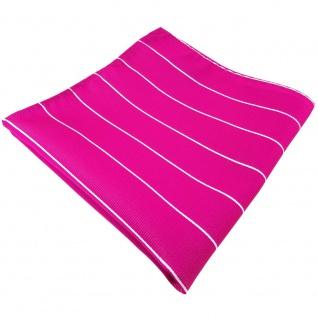 TigerTie Einstecktuch magenta fuchsia silber gestreift - Tuch Polyester